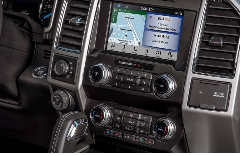 View of front dash and SYNC3 on 2020 Ford F-150