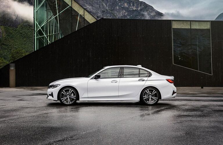 Driver angle of a white 2019 BMW 3 Series