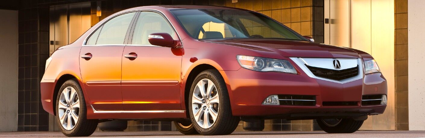 Front passenger angle of a red 2009 Acura RL