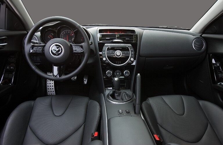 Front interior in the 2009 Mazda RX-8
