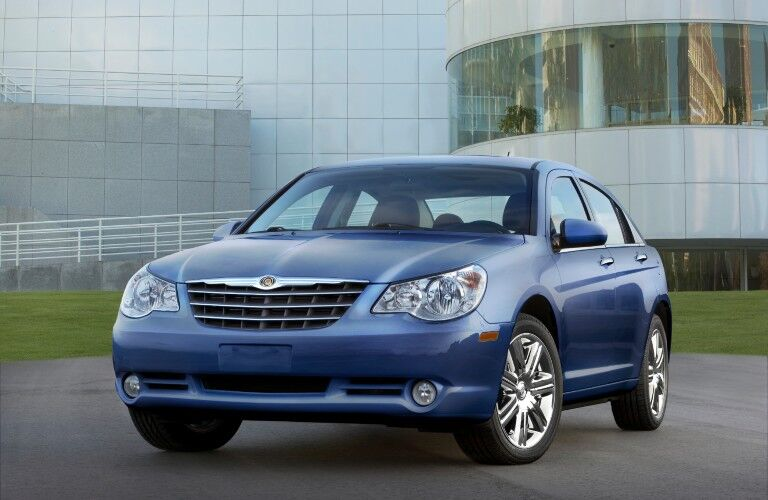 Front driver angle of a blue 2010 Chrysler Sebring