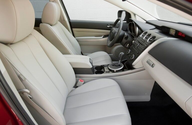 Passenger angle of the front row seats inside the 2012 Mazda CX-7