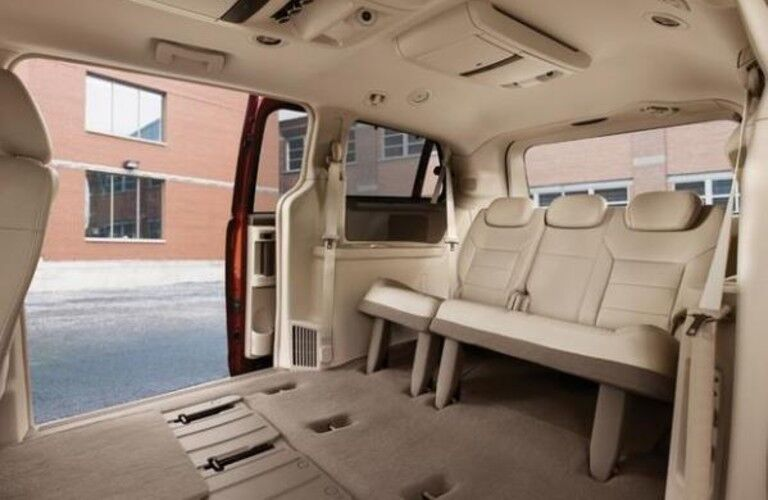 Rear seats in the 2013 Volkswagen Routan with the middle seats folded down