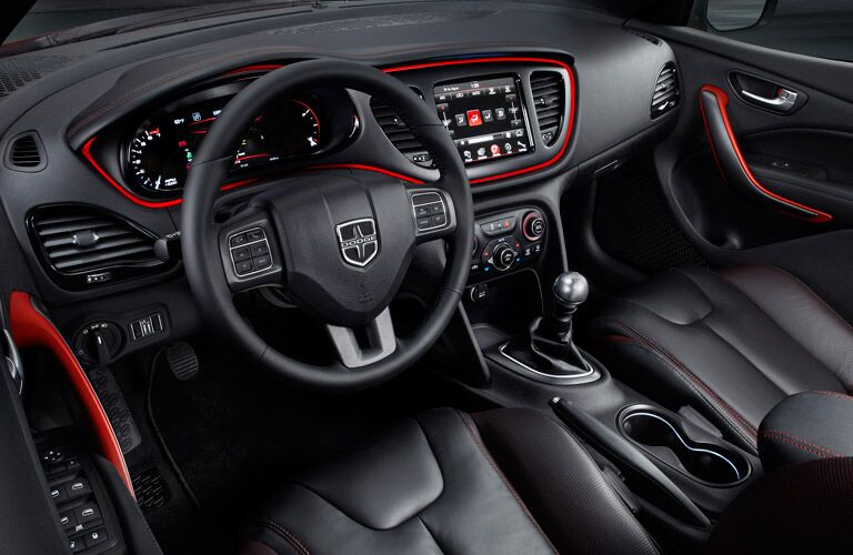 Dodge Dart steering wheel and infotainment system