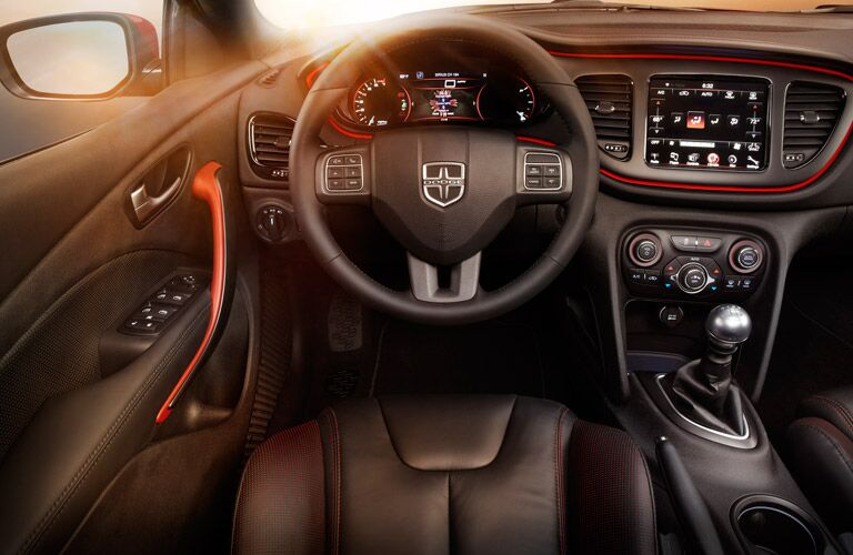Dodge Dart dashboard and steering wheel