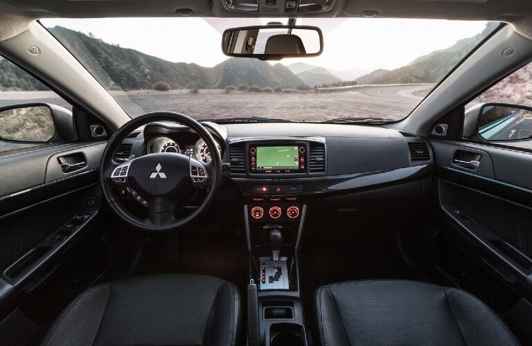 Front interior in the 2016 Mitsubishi Lancer