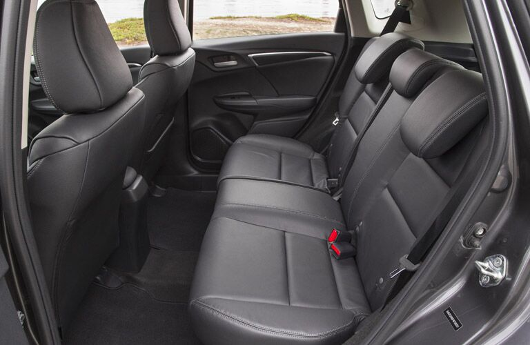 Inside view of the back seat interior of the 2017 Honda Fit