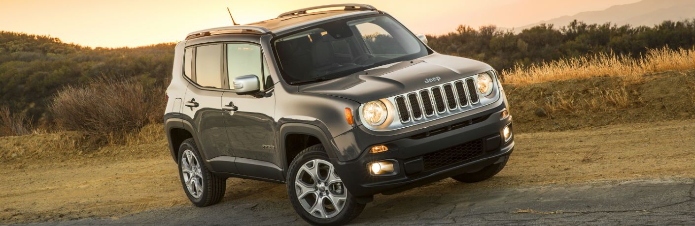 Used Jeep Renegade parked on off-road trail