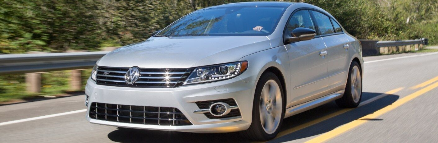 Front driver angle of a white 2017 Volkswagen CC driving on a road