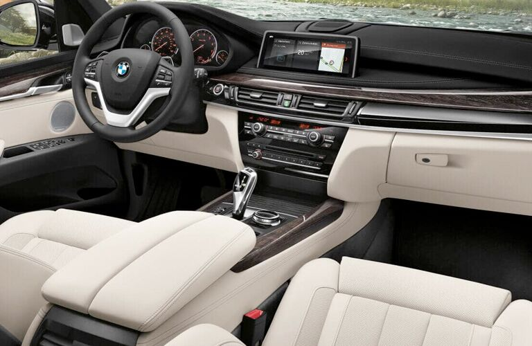 BMW X5 front interior dashboard and steering wheel