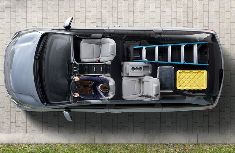 Overhead view of the Honda Odyssey showing large cargo area