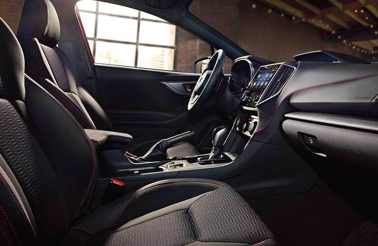 Passenger angle of the front row interior inside the 2019 Subaru Impreza