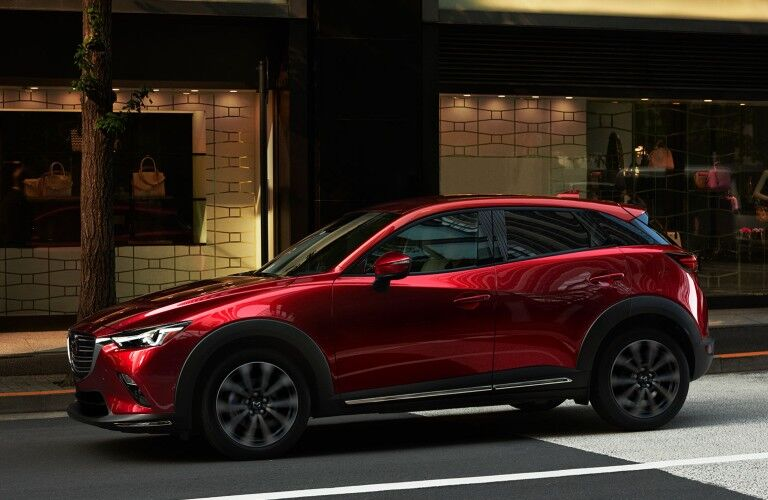 Front driver angle of a red 2019 Mazda CX-3