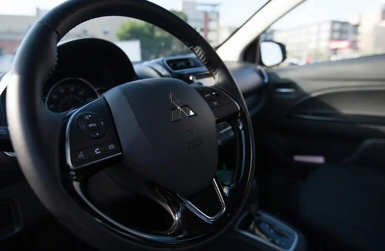 Close up of the steering wheel in the 2019 Mitsubishi Mirage G4