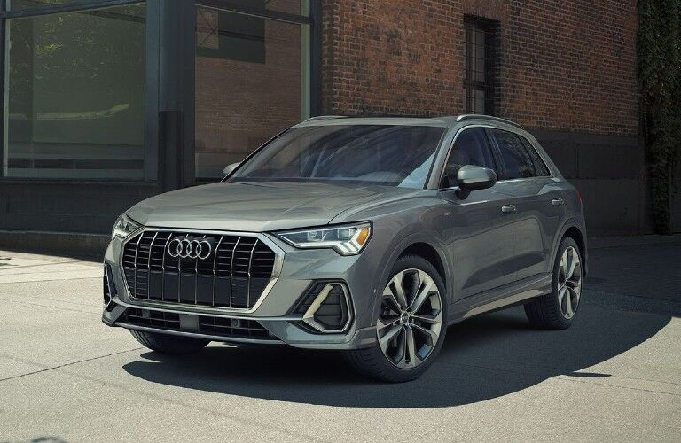 Front driver angle of a grey 2020 Audi Q3