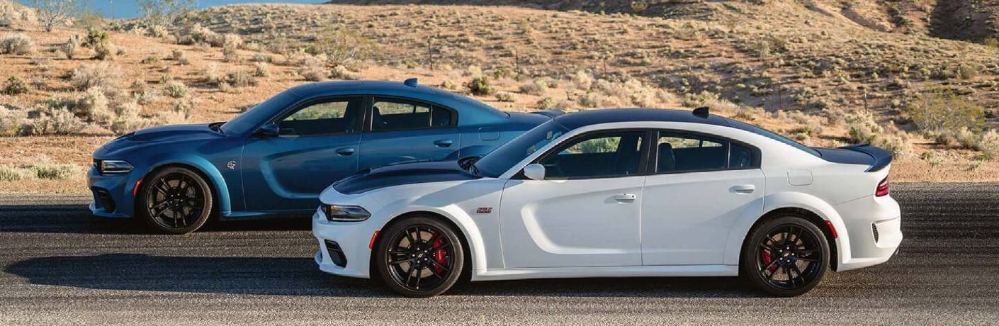 A white 2020 Dodge Charger driving next to a blue 2020 Dodge Charger