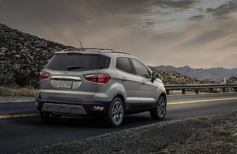 Rear passenger angle of a grey 2020 Ford EcoSport