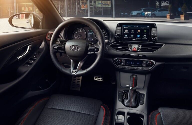 Front interior in the 2020 Hyundai Elantra GT