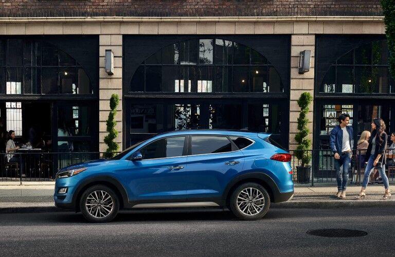 Driver angle of a blue 2020 Hyundai Tucson