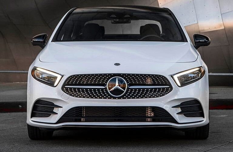 Front angle of a white 2020 Mercedes-Benz A-Class