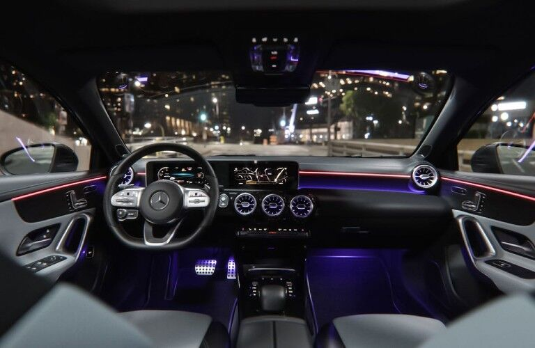Front interior of the 2020 Mercedes-Benz A-Class with ambient lighting