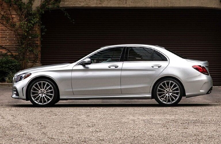 Driver angle of a silver 2020 Mercedes-Benz C-Class
