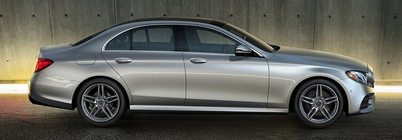 Passenger angle of a silver 2020 Mercedes-Benz E-Class