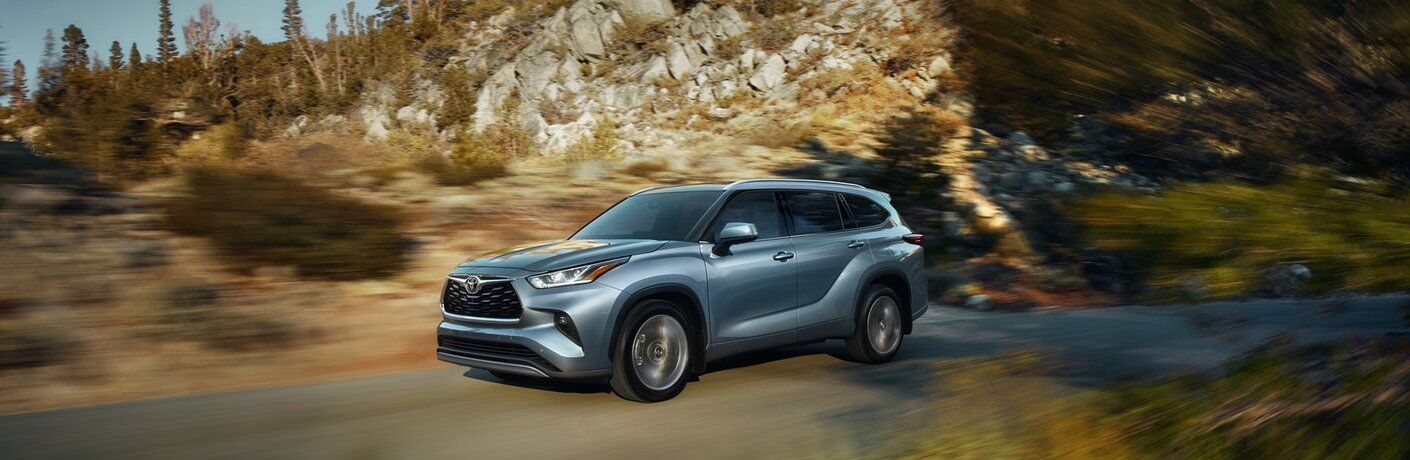 Front driver angle of a gray 2020 Toyota Highlander