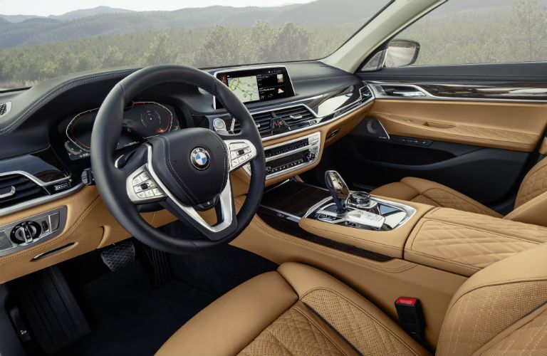 2020 BMW 7 Series European model interior front seats and dashboard view