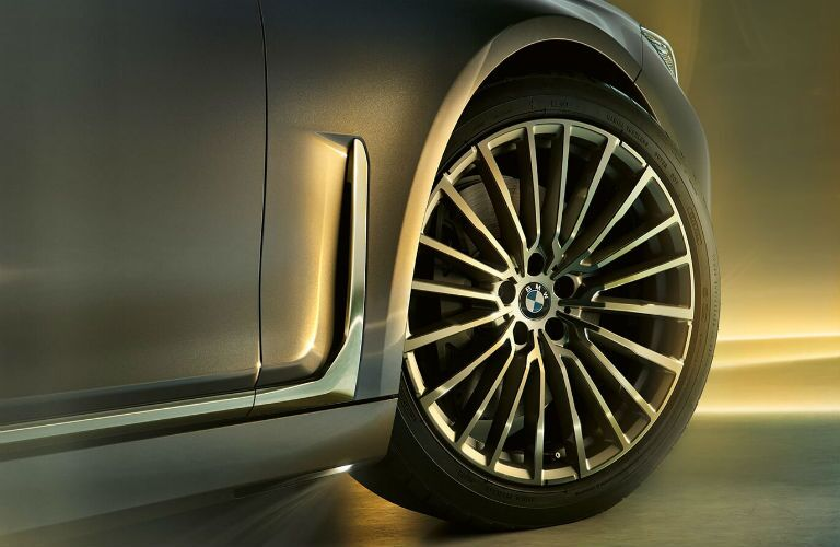 2020 BMW 7 Series close up of passenger side front tire