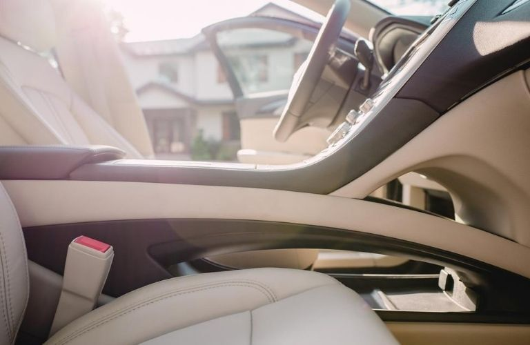 2020 Lincoln MKZ interior front seating area from a low angle