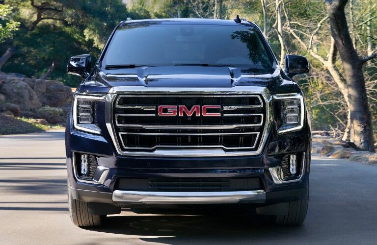 Front angle of a black 2020 GMC Yukon