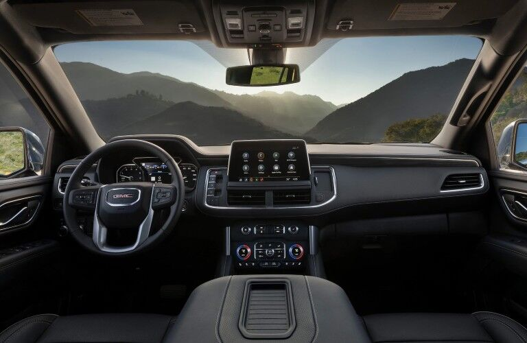 Front interior in the 2020 GMC Yukon