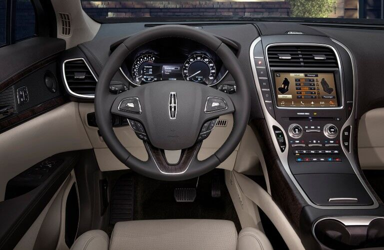 Steering wheel inside the 2017 Lincoln MKX
