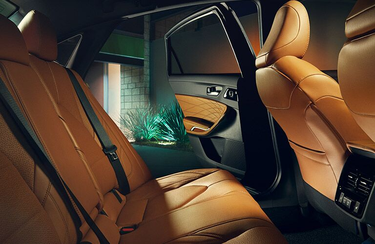 2019 Toyota Avalon interior rear seats. Outfitted in Cognac Leather.