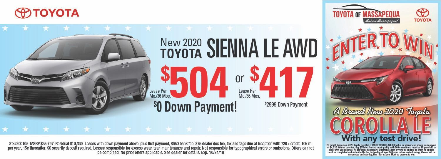 toyota sienna lease special