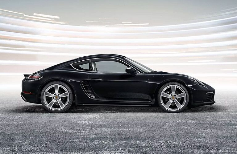 black profile of porsche cayman 718 from profile