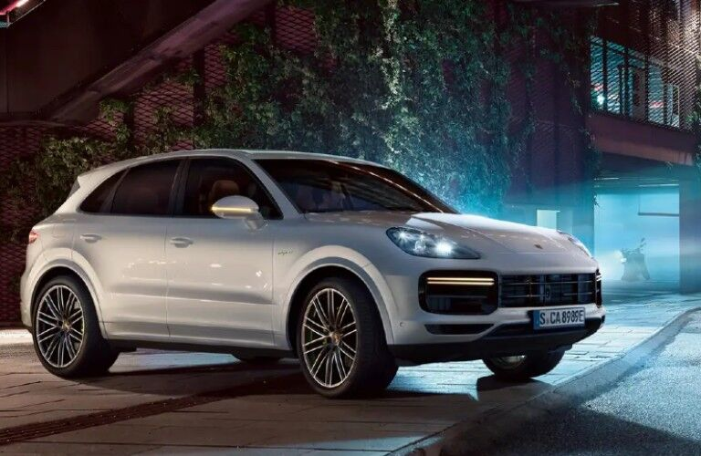2021 Porsche Cayenne in city alley at night