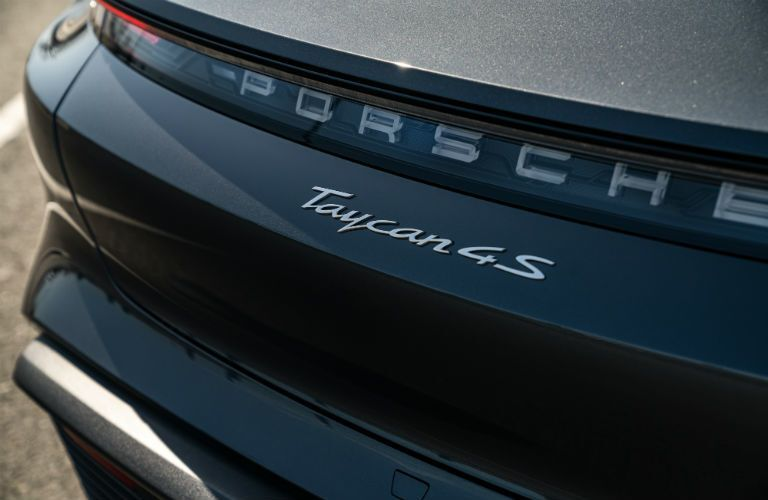 Closeup of rear badge on 2021 Porsche Taycan
