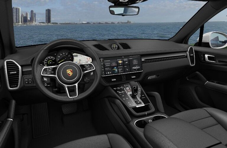 2021 Porsche Cayenne E-Hybrid dashboard and steering wheel