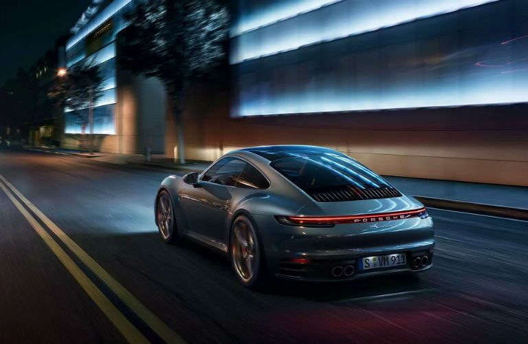 rear shot of 2020 porsche 911 coupe