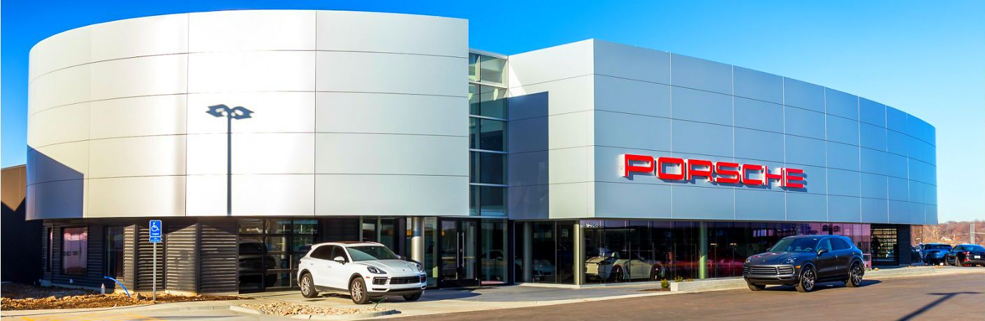 exterior of Porsche of Kansas City state of the art dealership facility
