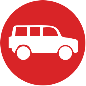 white suv profile image on red circle background