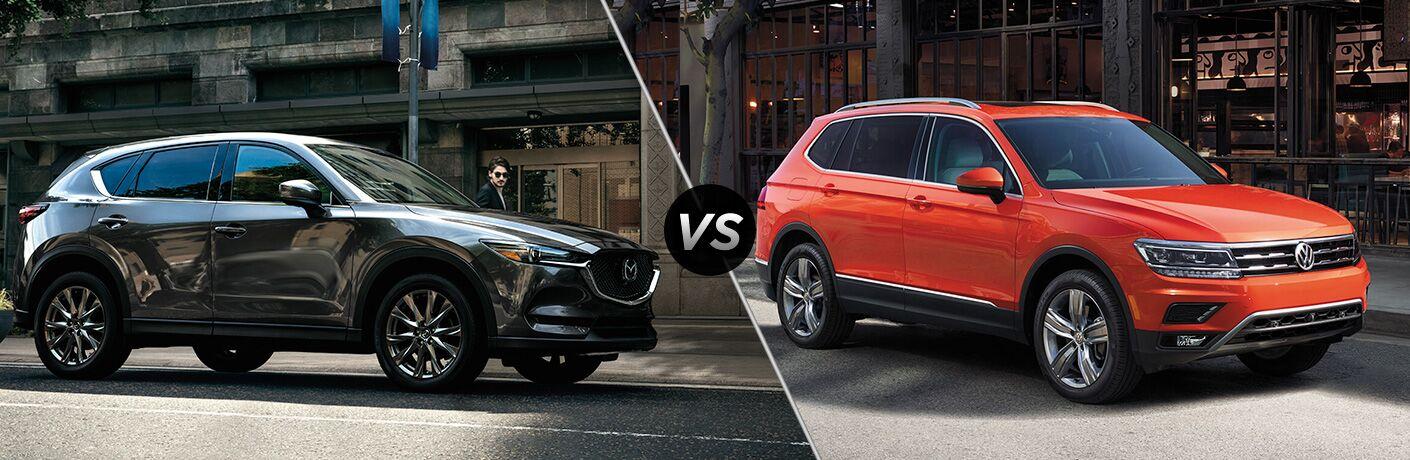 Comparison image of a gray 2019 Mazda CX-5 and an orange 2019 Volkswagen Tiguan