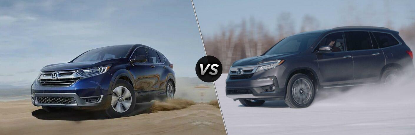 """Blue 2019 Honda CR-V and blue 2020 Honda Pilot, separated by a diagonal line and a """"VS"""" logo."""