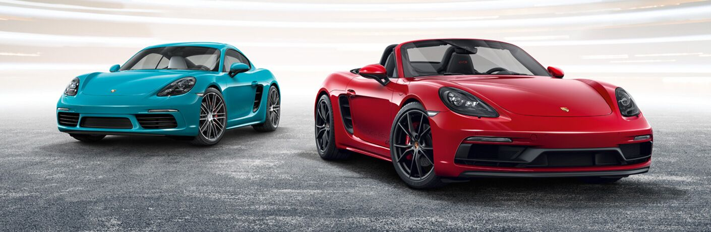 2019 Porsche 718 Cayman and Boxster parked next to each other