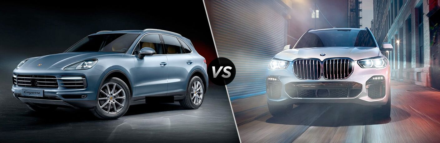 2019 Porsche Cayenne exterior front fascia and drivers side vs 2019 BMW X5 exterior front fascia