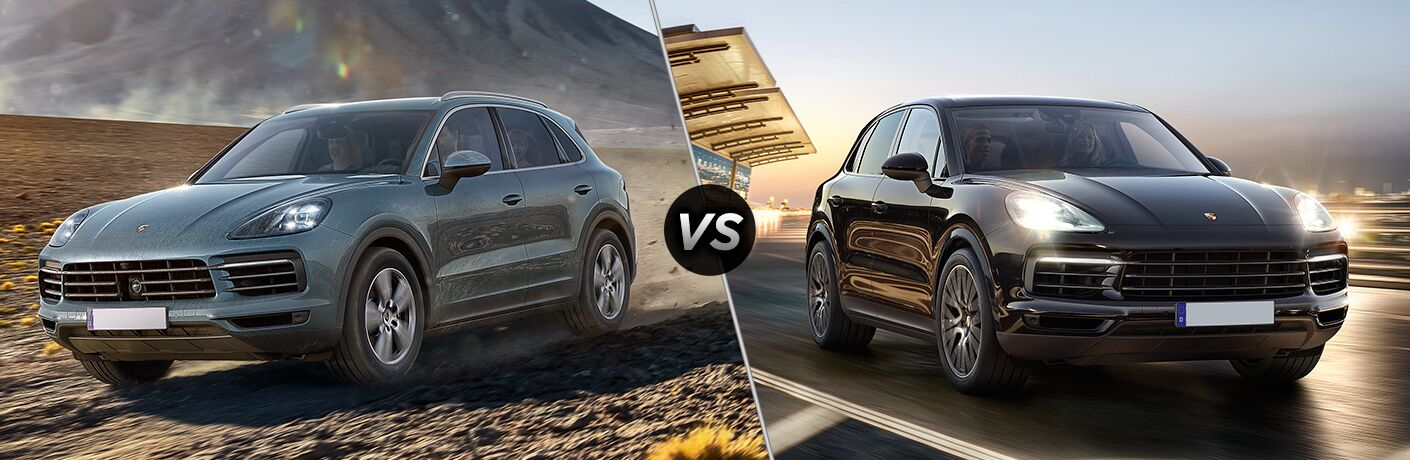 Front driver angle of the 2019 Porsche Cayenne on left VS front passenger angle of a 2019 Porsche Cayenne S