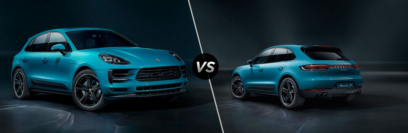 2019 Porsche Macan exterior front fascia and passenger side vs 2019 Porsche Macan S exterior back fascia and drivers side