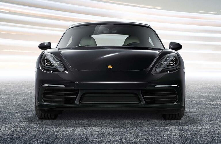 Front view of a black 2019 Porsche 718 Cayman